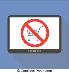 No cart Tablet Icon - Do not buy online Shopping cart Tablet...