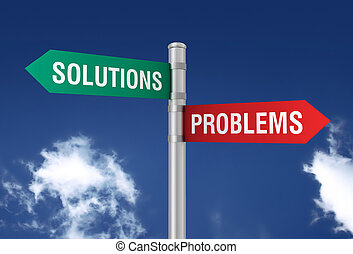 problems solutions road sign 3d concept illustration on sky...