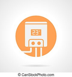 Orange round vector icon for electric water boiler -...