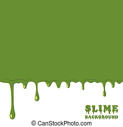 Green slime background. Dripping, oozing slime vector...