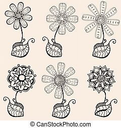 Sketch of abstract flower - Set of Hand Drawn Sketch of...