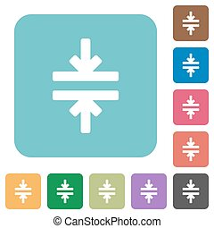 Flat horizontal merge icons on rounded square color...