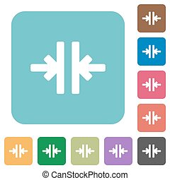 Flat vertical merge icons on rounded square color...