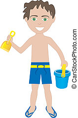 Brunette Boy Swimsuit - Vector of brunette boy in swimsuit...