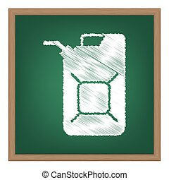 Jerrycan oil sign. Jerry can oil sign. White chalk effect on...