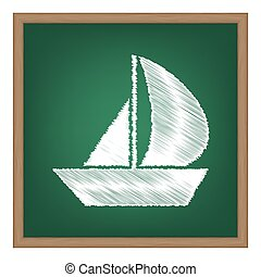 Sail Boat sign. White chalk effect on green school board.