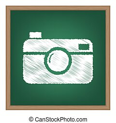 Digital photo camera sign. White chalk effect on green...