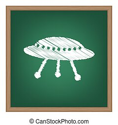 UFO simple sign. White chalk effect on green school board.