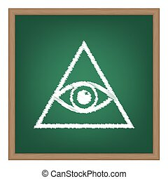 All seeing eye pyramid symbol Freemason and spiritual White...