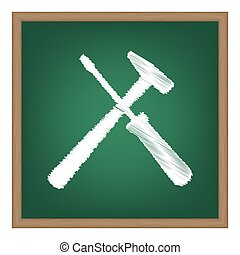 Tools sign illustration. White chalk effect on green school...