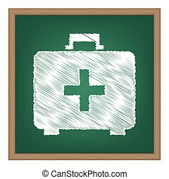 Medical First aid box sign. White chalk effect on green school board.
