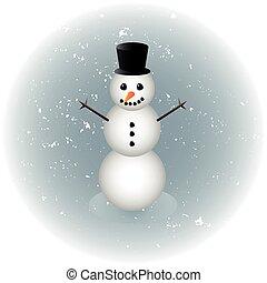 Snowman alone in winter