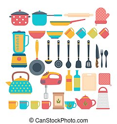 Kitchen appliances. Cooking tools and kitchenware equipment