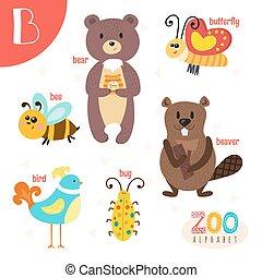 lindo,  Abc, animales, carta, divertido,  B, animales, libro,  vector, caricatura