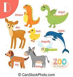 D, lindo,  Abc, animales, carta, divertido, animales, libro,  vector, caricatura