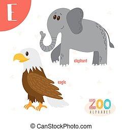 lindo,  e, animales,  Abc, divertido, animales, libro,  vector, carta, caricatura