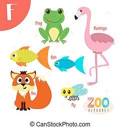 lindo,  Abc, animales, carta, divertido, animales, libro,  vector, caricatura,  F