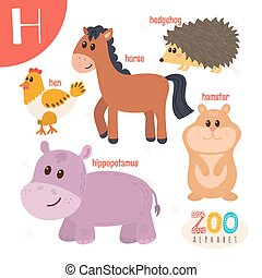 lindo,  Abc, animales, carta, divertido, animales, libro,  H,  vector, caricatura