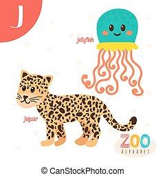 lindo,  Abc, animales, carta, divertido, animales,  J, libro,  vector, caricatura