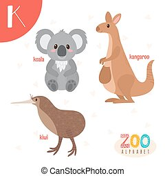 lindo,  Abc, animales, carta, divertido,  K, animales, libro,  vector, caricatura