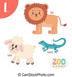 lindo,  Abc, animales, carta, divertido,  L, animales, libro,  vector, caricatura