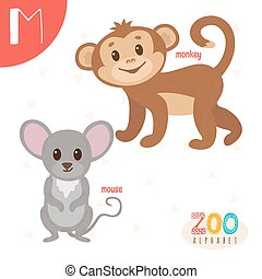 lindo,  Abc, animales, carta, divertido,  M, animales, libro,  vector, caricatura