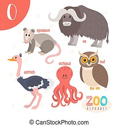 Letter O. Cute animals. Funny cartoon animals in vector. ABC...