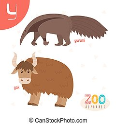 lindo,  Abc, animales, divertido, animales, libro,  vector, caricatura