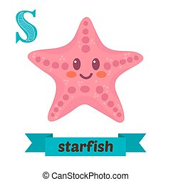 Starfish. S letter. Cute children animal alphabet in vector. Funny cartoon animals