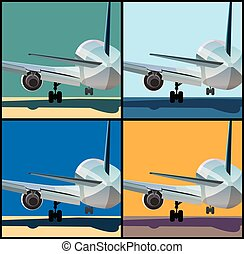 Airplane is landing or to take off - Stylized vector...