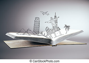 Traveling concept - Open book with abstract drawing of...