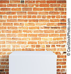 Empty stand on brick background - Empty white stand on red...