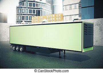 Green semi-trailer side - Side view of blank green...