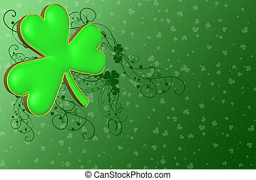 A clover on a green background with various decorations for...