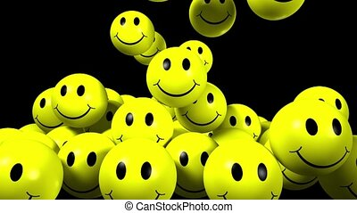 3D Yellow smiling balls falling on a black background.