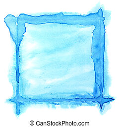 Square watercolor frame - Blue watercolor frame - space for...