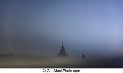 Church tower in fog - Small chirch tower in thick fog...