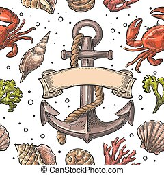 Seamless pattern sea shell, coral, crab and anchor with...