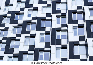 Black white minimalistic bauhaus office building frontage of business center