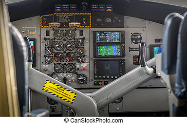 Cocpit of small plane - Internal view of small planes cocpit...