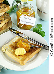 Marmalade On Toast - Homemade marmalade on toast with butter...