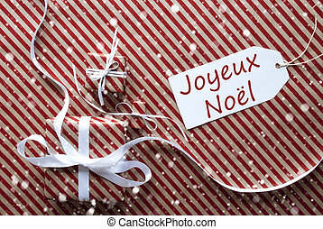 Gifts With Label, Snowflakes, Joyeux Noel Means Merry...