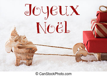 Reindeer With Sled On Snow, Joyeux Noel Means Merry...