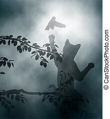 Cat ambushing songbird - Editable vector illustration of a...