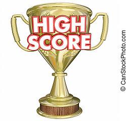 High Score Trophy Award Winner Prize 3d Illustration