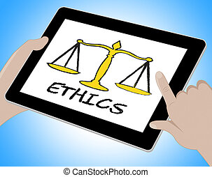 Ethics Online Indicates Moral Code 3d Illustration - Ethics...