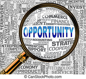 Opportunity Magnifier Means Commerce Possibilities 3d...