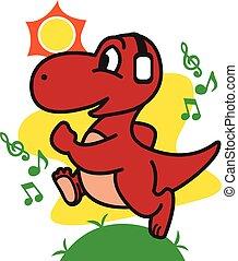 Dinosaur Jogging vector art