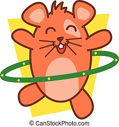 Hamster playing hula hoops vector art illustration