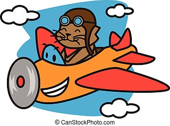 Cat flying with plane vector art illustration